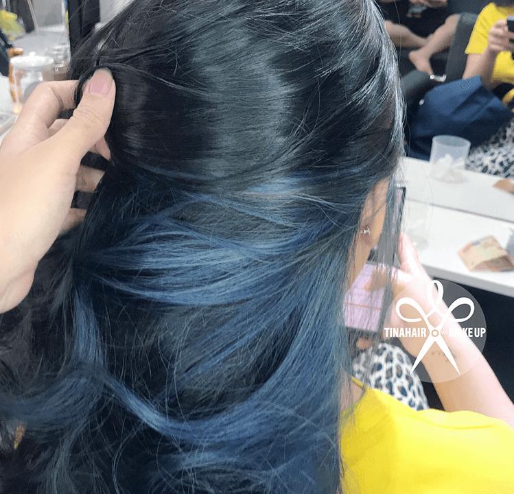 Nhuộm tóc xanh đen và nhuộm tóc Highlight xanh dương