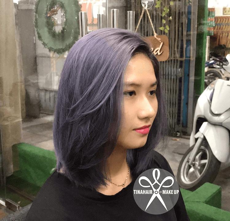 Nhuộm tóc tím khói có phục hồi tóc hư tổn Như 133